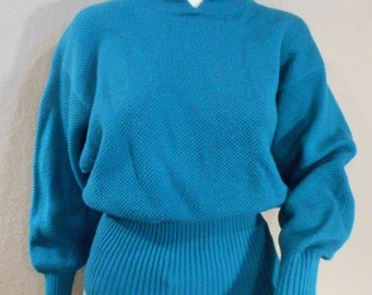 Vintage Turquoise Tyrolla Wool and Acrylic Sweater Small Medium womens