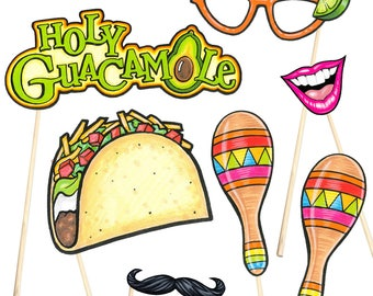 16 Fiesta Party Photo Booth Props, Cinco de Mayo - Instant Download - Free Photo Booth Sign