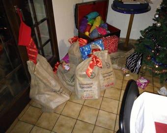 Santa delivering toys bag
