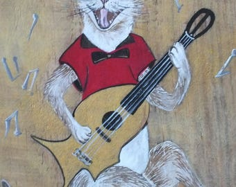 Rock: our friend the cat and his guitar painted on wood