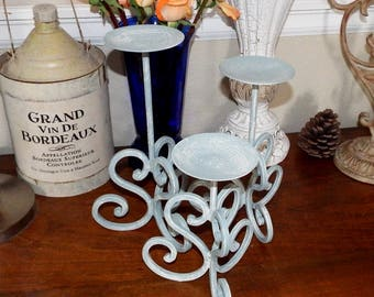 Blue and White Shabby Chic Painted Candle Holders, Set of 3