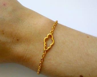 Golden cloud - Bracelet gold brass chain and connector cloud