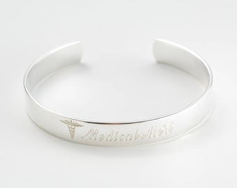 20% OFF| Engraved Medical Cuff Bracelet • Personalized Medical ID Bracelet • Alert Bracelet • Allergy Bracelet  • Diabetic Bracelet
