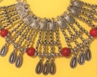 Red Turquoise & Silver Necklace Set