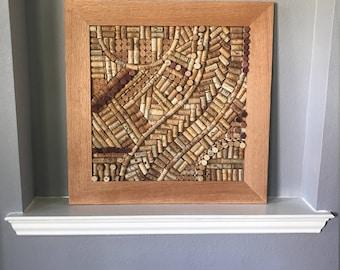 Wine Cork Wall Art With Red Oak Frame