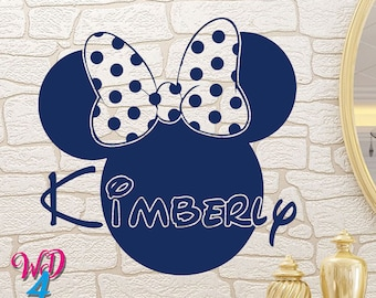 Minnie Mouse Custom Decals Murals Disney Wall Name Decal Personalized Baby Name Wall Decals Girls Room Nursery Wall Art Decor Nursery WD010