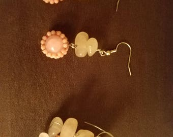 Peach stone and small bead earrings