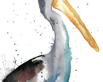 Pelican Watercolour Painting Giclee Print A4