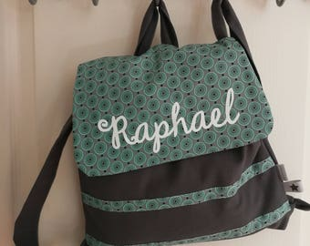Customizable backpack print and grey circles turquoise 2/5 years