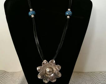 Long black leather, flower pendant necklace and blue European beads