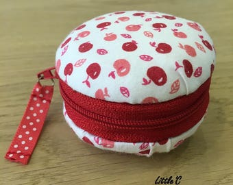 Box jewelry Portatile macaroon - cherry pattern - sewn entirely by hand - series MACAROONS to jewelry-