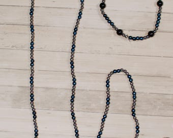 Denim Blue and Grey Beaded Necklace with Denim Blue, Grey, and Black Bracelet