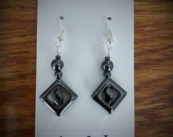 Hematite Beaded Drop Earrings