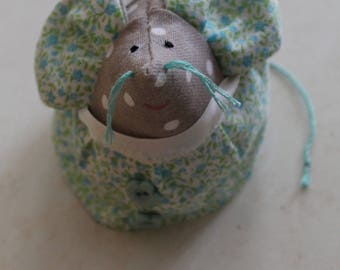 Mouse in linen with white polka dots