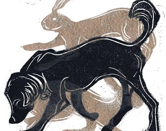 Dog and Hare - linocut print