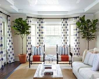 Blue Ivory White Ikat Drapes Curtains Custom Lengths Extra Long Wide Linen Cotton Also In