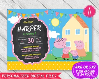 Peppa Pig Invitation, Peppa Pig Birthday, Peppa Pig Party, Peppa Pig, Peppa Pig Birthday Invitation, Peppa Pig Printable Card Birthday Party