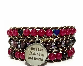 Boho/Casual/Street Style - Wrap Leather Brown-raspberry and Brown - Jade, Hematite and Obsidian - the passionate Bracelet