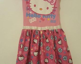 "OOAK Upcycled Hello Kitty ""Pink Sparkle"" Tee Shirt Dress"