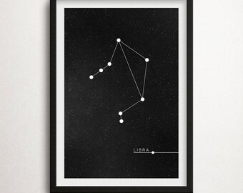 Libra Constellation Print, Zodiac Print, Zodiac Poster, Libra Sign, Zodiac Sign, Libra Zodiac Print, Constellation, Astrology, Wall Art