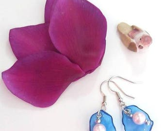 Blue rose earrings silver recycling/earrings blue pink