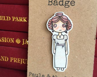 Jane Austen Pin Badge - Elizabeth Bennet - Pride and Prejudice - Mr Darcy - Literature - Regency - Gift - Birthday - Book Lover - Reading