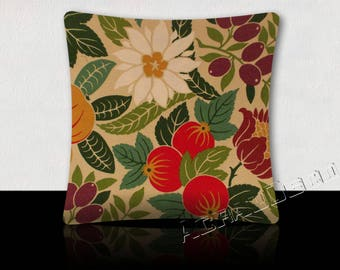 Design pattern cushion tropical fruits and flowers-Aubergine/white/Red Raspberry/green tree/plum/yellow mustard on beige background