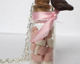 Necklace jar Marshmallow and chocolate Fimo