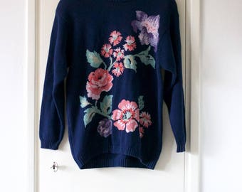 Vintage Women's Navy Blue Floral Sweater // Cotton Jumper // Knitted // Winter Clothing // 80s 90s // Flower Print Pullover // Large