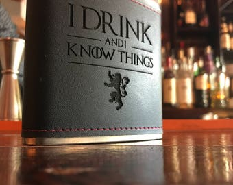 "Game of Thrones ""I Drink and I Know Things"" 6oz Hip Flask Laser Engraved!"