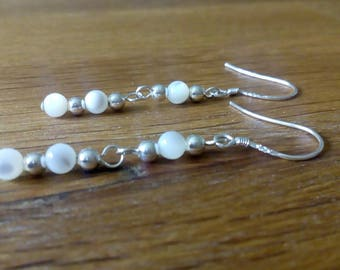 Mother of pearl and sterling silver drop earrings, semi precious, gemstone, beaded, silver