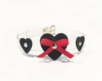 Transparent rubber collar, collar vegan with black hearts, romantic bondage fetish accessory, BDSM style, in stock