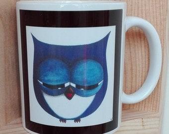 Fun blue OWL printed mug