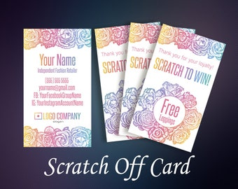 Scratch Off Cards, Scratch To Win, Prize Cards, Loyalty Cards, Business Cards, Digital Files, Home Office Approved Color&Fonts
