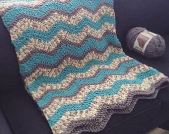 Thick Chunky Chevron Crocheted Baby Blanket Throw