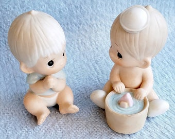 Ceramic Babies, Pair, Enesco Baby, 1987, and Jonathan & David Baby, 1983