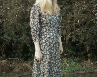 90s Grunge Floral Button Down Midi Dress Corset Lacing