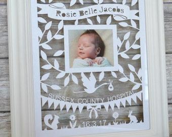 Birth Announcement Papercut