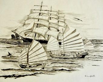 Original Nautical Artwork 'Opium Trade' Pen & Ink Illustration On Drawing Paper