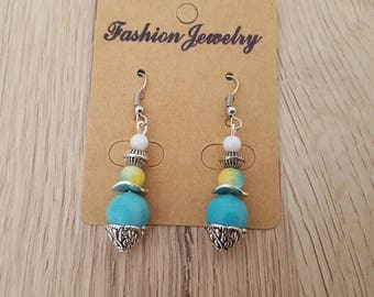 hook earrings and bead in silver, natural turquoise beads