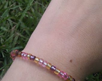 Gold, Pink & Purple Glass Bead Bracelet