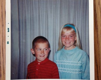 Vintage Snapshot of Young Boy and Girl Brother and Sister 1968 Square Color Photo 1960s Photo Fashion