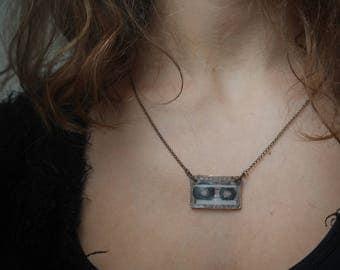 Audio cassette necklace