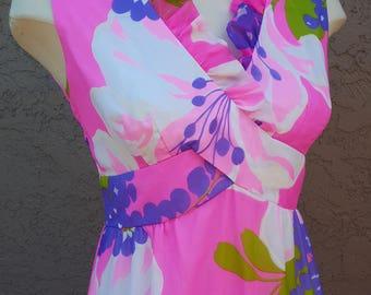 Vintage Malia Honolulu 1960 - 1970's Pink & Purple Max Dress