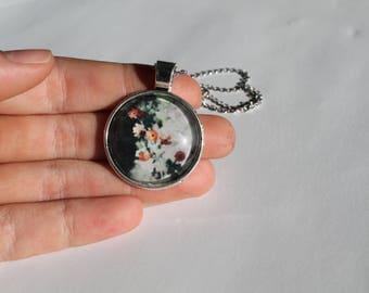 Orange Flowers Photo Pendant Necklace