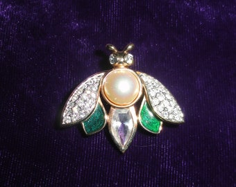 Vintage Swarovski Encrusted Faux Pearl Bug Insect Brooch with Green Enamel Gold Tone by D.S. Co. Signed Pin
