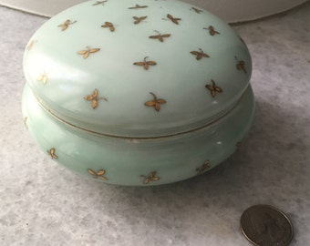 Beautiful Antique Haviland and Co. Green Limgoes Covered Dresser Bowl or Powder Jar.