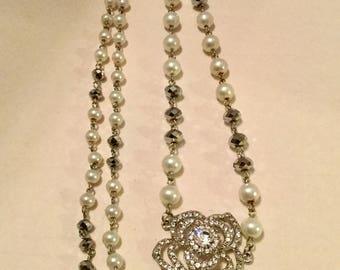 Rhinestones and Pearls Pendant