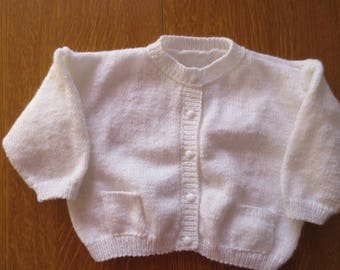 White baby Wool Cardigan, size 6 months