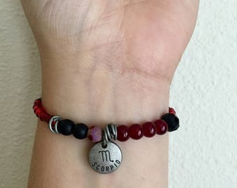 Scorpio Elastic Beaded Bracelet WOMENS Beaded Zodiac Bracelet